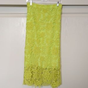 HELLO Neon Chartreuse Lace Pencil Skirt